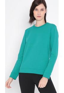 Blusão Liso Em Moletom- Verde- Malweemalwee