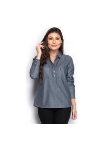 Camisa Camisete Feminina Jeans Bolso Manga Longa Casual
