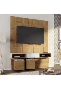 Painel Para Tv Tb125 Quadriculado 3D Freijo/Off White - Dalla Costa