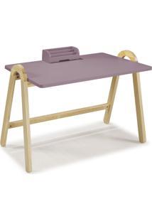 Mesa Escrivaninha Com Porta Objetos Ringo 1031 Natural/Lilás - Maxima