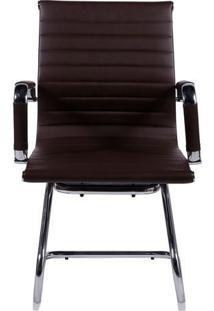 Cadeira Office Eames Esteirinha- Cafã© & Prateada- 89Or Design