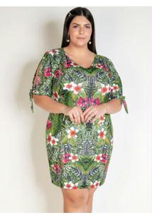 Vestido Curto Floral Com Amarração Plus Size