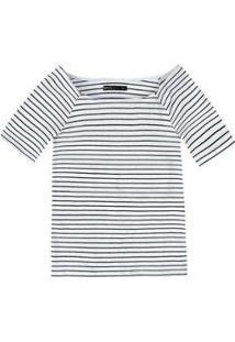 Blusa Básica Em Malha De Algodão Com Decote Canoa Feminina - Feminino