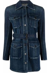 Saint Laurent Saharienne Belted Denim Jacket - Azul
