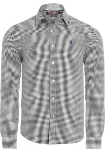 Camisa Masculina Vichy - Preto
