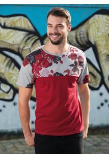 Camiseta Com Estampa Floral Mescla E Vermelho