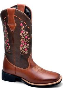 Bota Top Franca Shoes Texana - Feminino-Marrom+Rosa