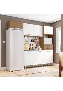 Cozinha Compacta Com Tampo 4 Peças Lia – Poliman - Carvalho / Branco