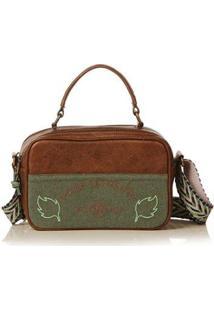 Bolsa Blue Bags Crossbody Bordado Terra Feminina - Feminino-Verde+Marrom