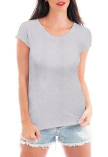 Camiseta Criativa Urbana Blusa T-Shirt Lisa - Feminino-Cinza