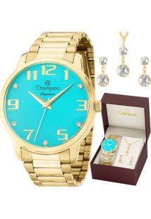 Kit Relógio Champion Feminino Elegance Com Colar E Brincos Cn26028Y