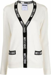 Moschino Cardigan Com Acabamento De Logo - Branco
