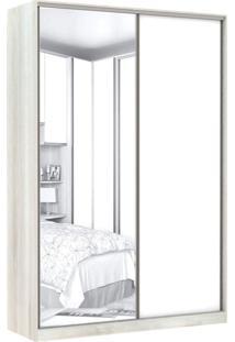 Guarda Roupa Modulado Com Espelho 2 Portas De Correr 3 Gavetas Nichos Colmeia 159Cm Prime Luciane Móveis Legno Crema/Branco Mat