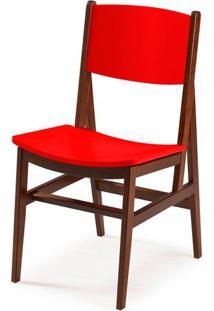 Cadeira Dumon Cor Cacau Com Vermelho - 30785 - Sun House