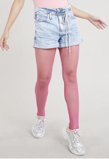 Short Jeans Feminino Mom Cintura Alta Com Cadarço Colorido Azul Claro