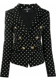Balmain Polka-Dot Double-Breasted Blazer - Preto