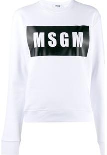 Msgm Blusa De Moletom Com Logo - Branco