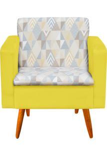 Poltrona Decorativa EmãLia Linho A17 Com Suede Amarelo - D'Rossi - Amarelo - Dafiti