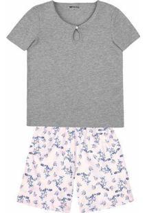 Pijama Feminino Em Malha De Algodão Com Decote Frontal