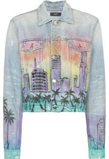 Amiri Jaqueta Jeans Com Estampa Hollywood - Azul
