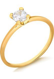 Anel Solitário Fininho Com Pedra Branca Folheado Em Ouro 18K - 1140000004322 12