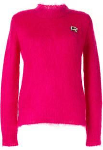 Rochas Suéter De Tricô Com Aplicações - Rosa
