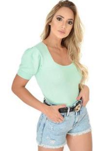 Body Livora Gola Princesa Tricot Modal Feminino - Feminino-Verde