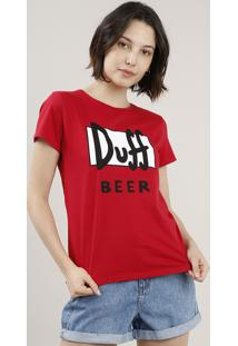 Blusa Feminina Duff Beer Os Simpsons Manga Curta Decote Redondo Vermelha