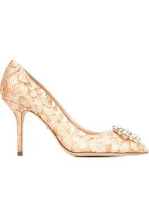 bda6c6fd7 R$ 5600,00. Farfetch Sapato Com Salto Rosa Feminino Dolce E Gabanna Renda  Viscose Couro ...