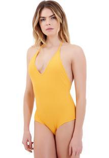 Body Rosa Chá Basic Canelado Yellow Beachwear Amarelo Feminino (Amarelo Medio, Gg)