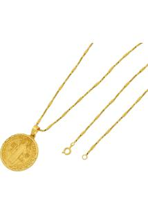 Pingente São Bento Com Corrente Folheado A Ouro 18K Tudo Jóias Modelo Tubo Dourada