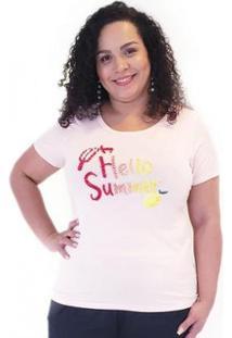Blusa Plus For You Viscolycra Com Estampa Feminina - Feminino-Rosa