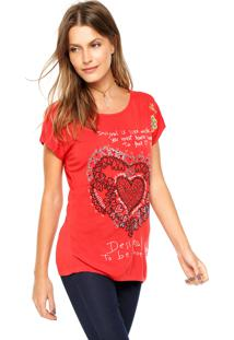 Camiseta Desigual Bordado Vermelha