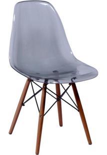 Cadeira Eames Base Madeira Escura E Fumê