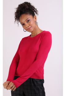 Suéter Feminino Básico Em Tricô Decote Redondo Rosa Escuro