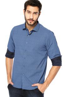 Camisa Manga Longa Hemingway Slim Flor Azul