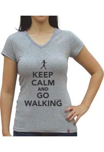 Camiseta Baby Look Casual Sport Keep Calm And Go Walking Cinza