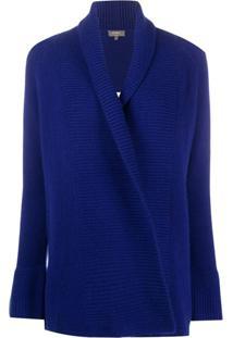 N.Peal Cardigan De Cashmere Com Recorte Canelado - Azul