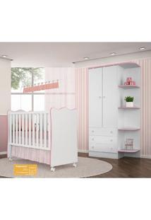 Jogo De Quarto De Bebê Doce Sonho Qmovi 2 Peças Com Berço E Guarda-Roupas - Branco Rosa