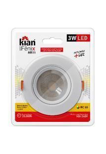 Luminária Spot Kian Mr11 Redondo Led Fênix Ii Alt: 4,3Cm Comp.: 7,5Cm Larg: 7,5Cm 3W 3000K Amarela.