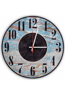 Relógio De Parede Decorativo Vintage Madeira Azul 35Cm Médio