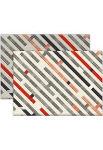 Jogo Americano Mdecore Abstrato 40X28Cm Cinza 2Pçs