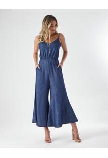 Macacão Jeans Pantalona Feminino - Feminino-Azul