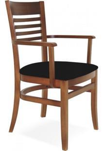 Cadeira Estofada Com Braços Paris Marie Tramontina Amêndoa/Preto
