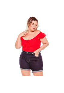 Bermuda Meia Coxa Almaria Plus Size Fact Jeans Azul