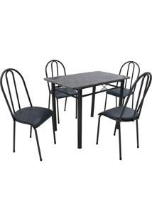 Conjunto De Mesa Com 4 Cadeiras Genebra Couro Sintético Preto E Petróleo