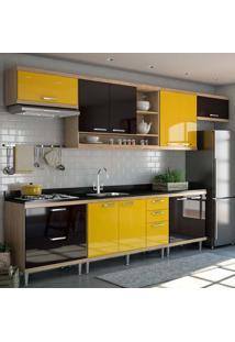 Cozinha Compacta 7 Peças 5800-S1 - Sicília - Multimóveis - Argila / Amarelo / Preto