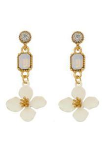 Brinco Piuka Flor Acácia Off White Strass White Opal