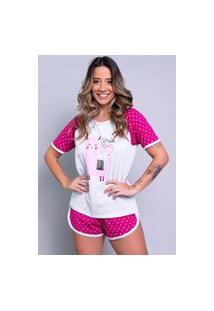 Pijama Feminino Serra E Mar Modas Manga Curta Estampada Adriana Pink
