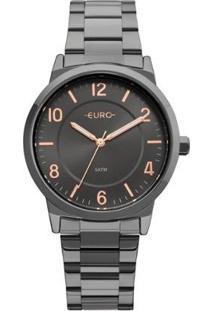 Relógio Feminino Euro Eu2036Ylz/4P Aço Fume - Feminino-Chumbo